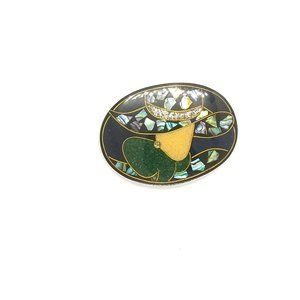 Vintage Colorful Paua Shell Brooch, Lady with Hat